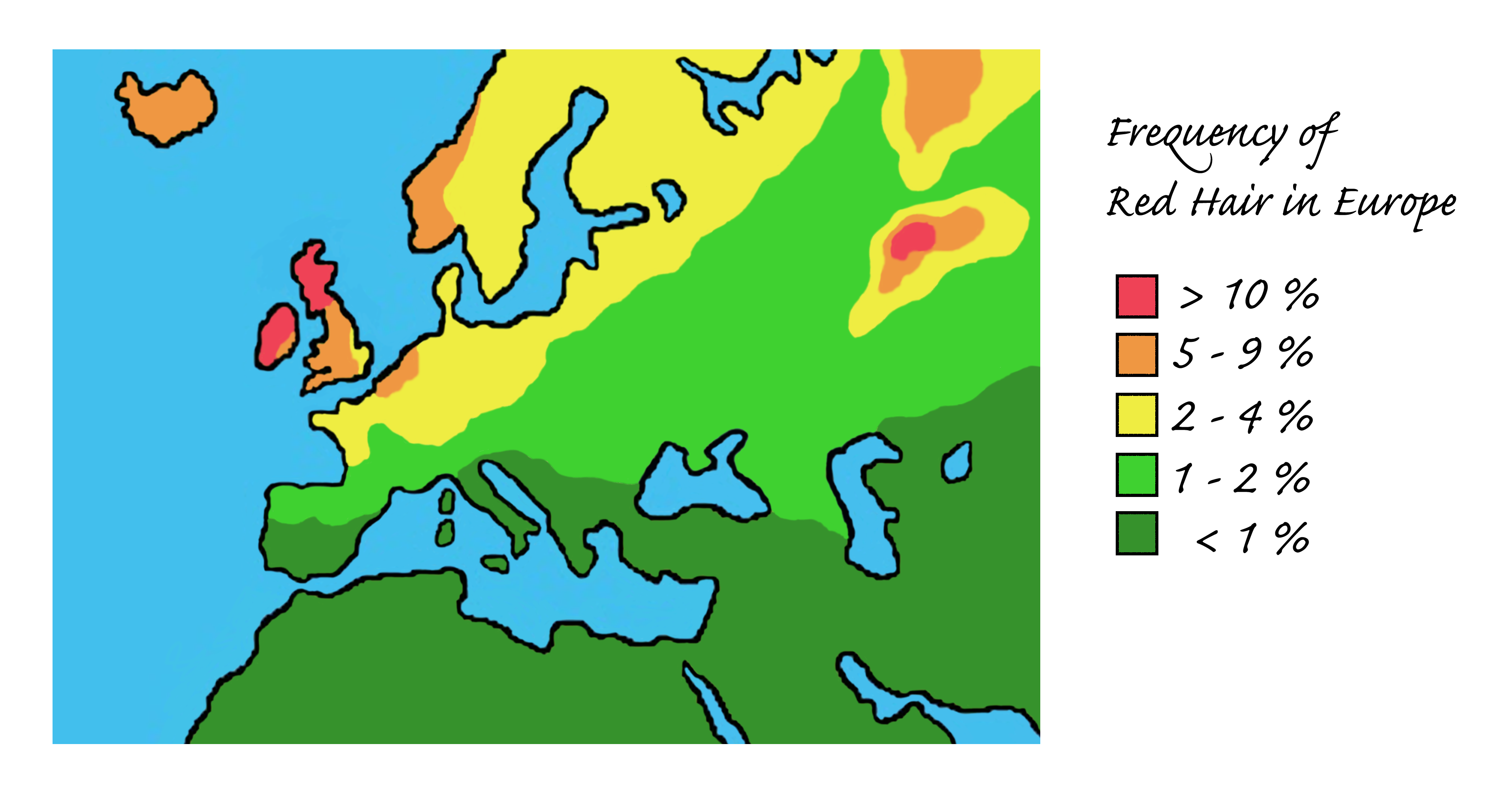 red hair map, showing its approximate frequency across Europe